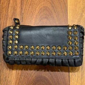 Betsey Johnson black wallet w/ gold studs & ruffle